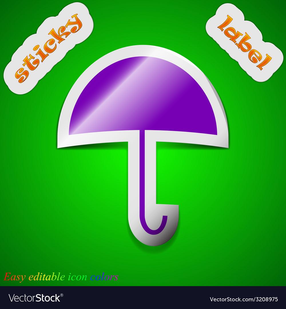 Umbrella icon sign symbol chic colored sticky vector | Price: 1 Credit (USD $1)