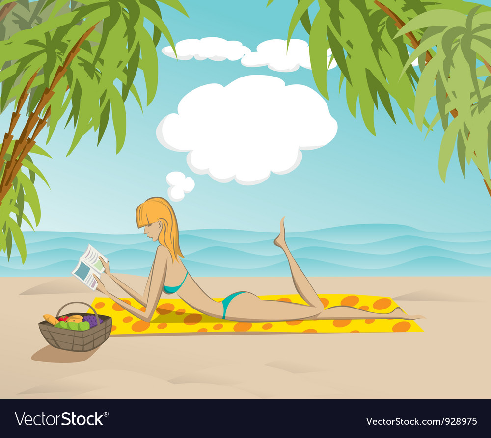 Woman on beach with book vector