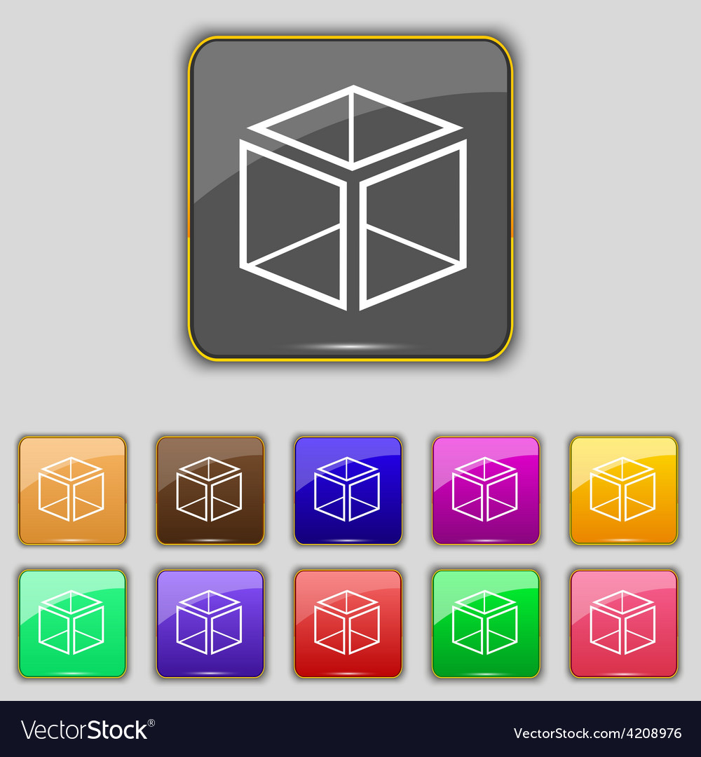 3d cube icon sign set with eleven colored buttons vector | Price: 1 Credit (USD $1)