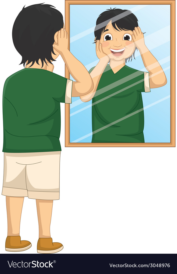 A boy facing the mirror vector | Price: 1 Credit (USD $1)