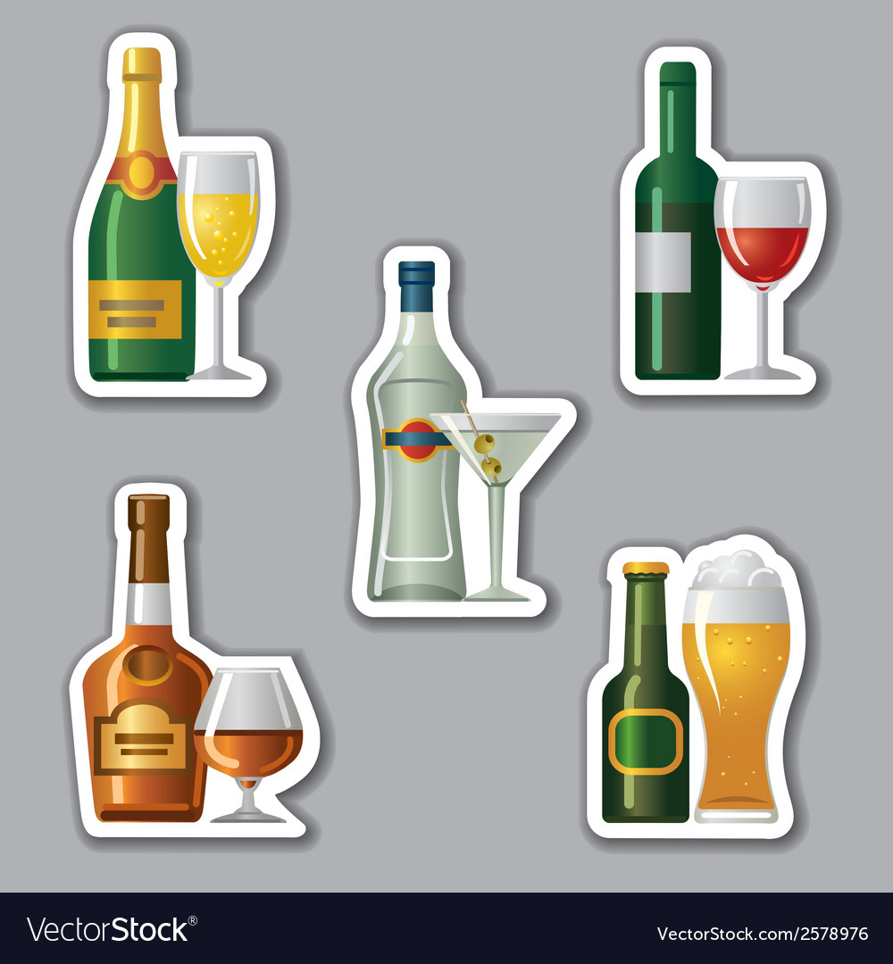 Alcohol drinks stickers vector | Price: 1 Credit (USD $1)