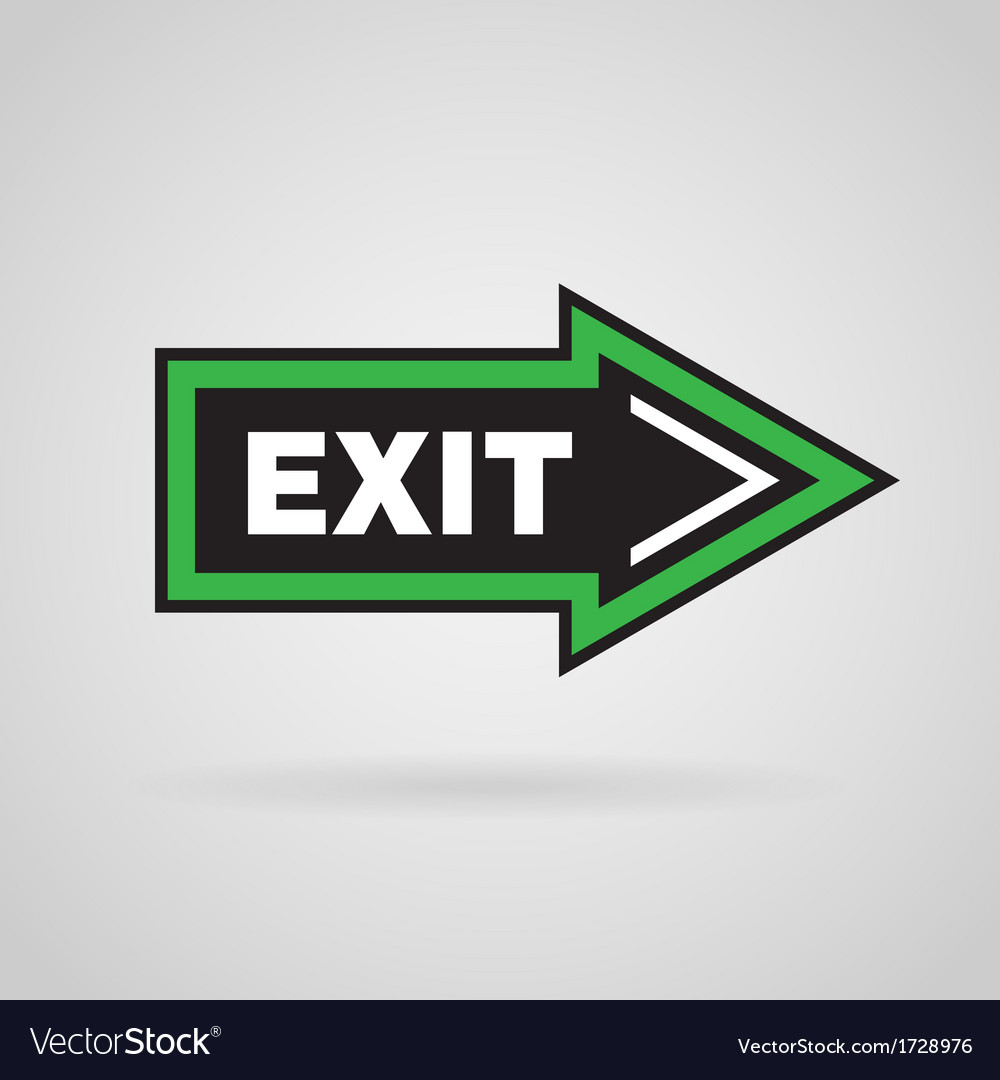 Green and black colored arrow with exit message vector | Price: 1 Credit (USD $1)