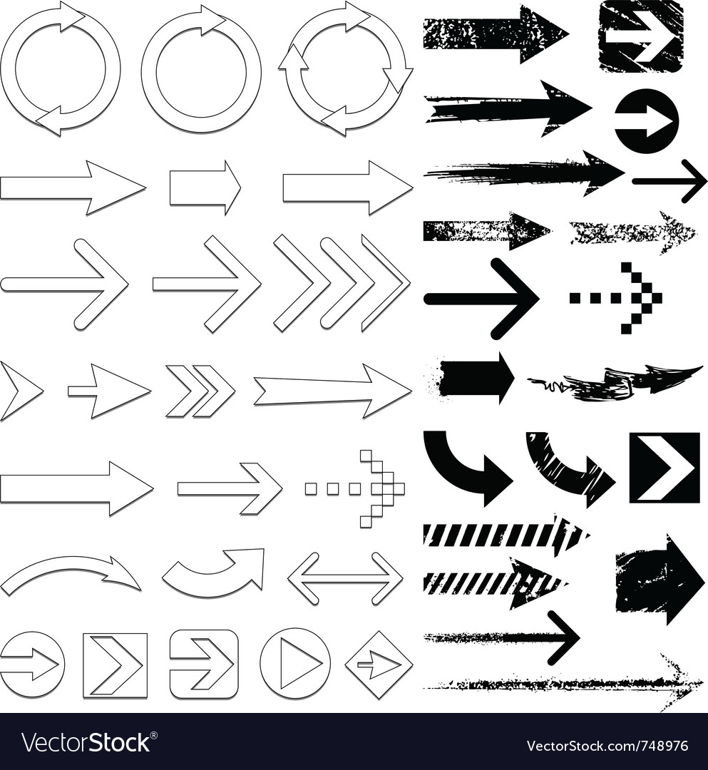 Lots of black arrows set vector | Price: 1 Credit (USD $1)