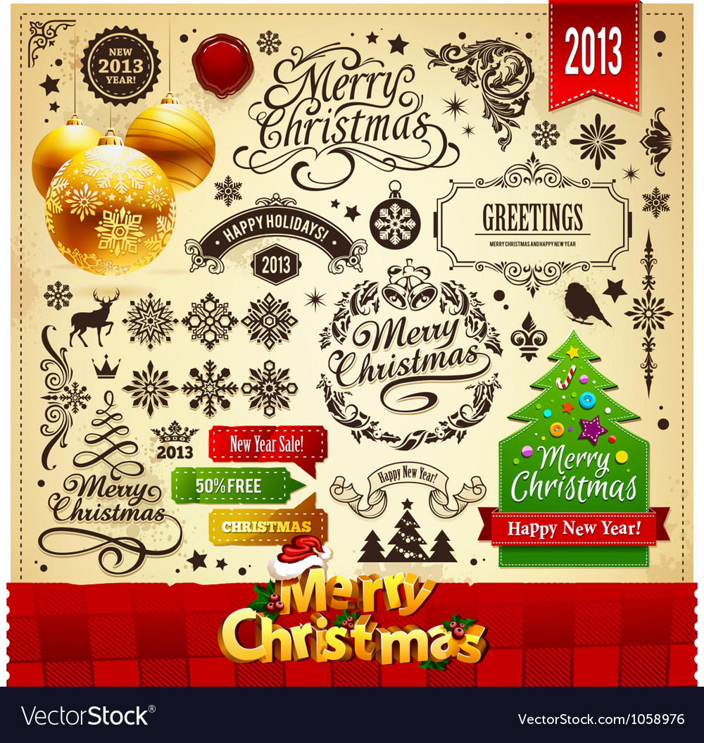 Merry christmas vintage elements vector | Price: 3 Credit (USD $3)