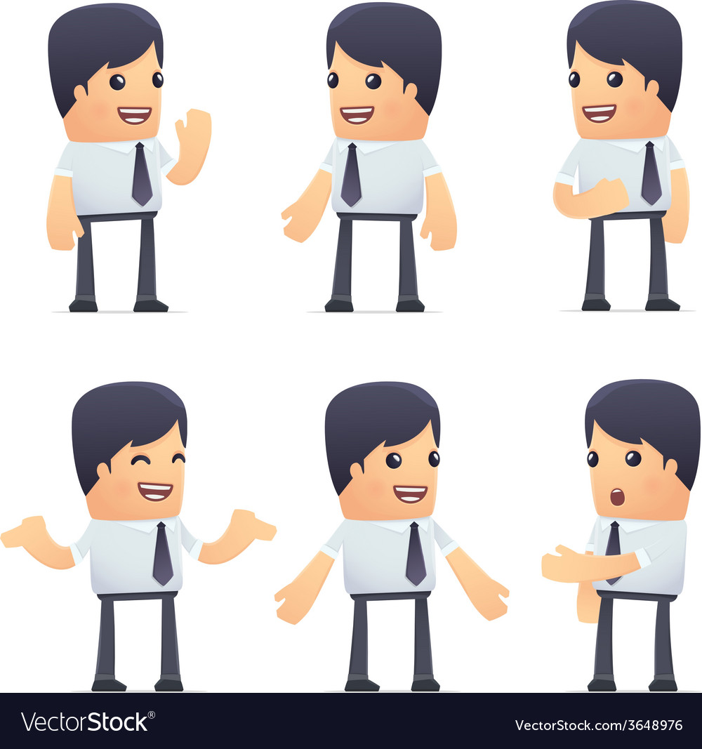 Set of businessman character in different poses vector | Price: 3 Credit (USD $3)