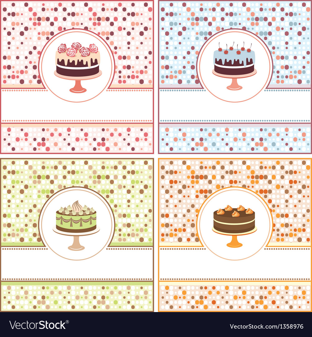 Set of cake cards vector | Price: 1 Credit (USD $1)