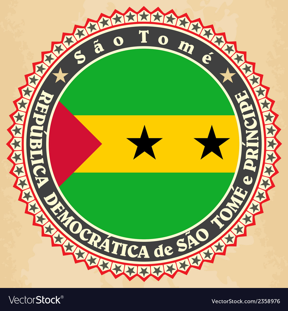 Vintage label cards of sao tome and principe flag vector | Price: 1 Credit (USD $1)