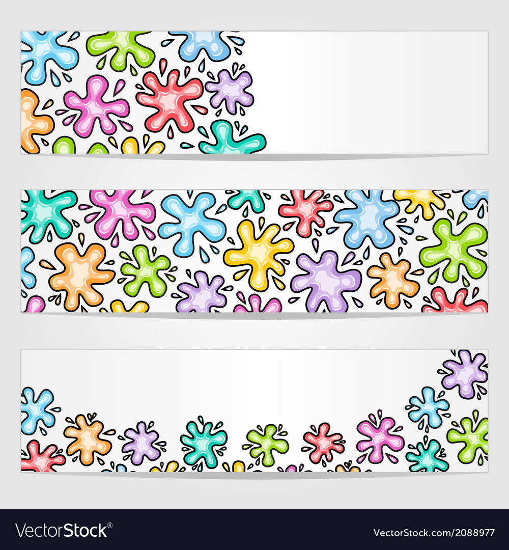 Banners with colored ink blots vector | Price: 1 Credit (USD $1)