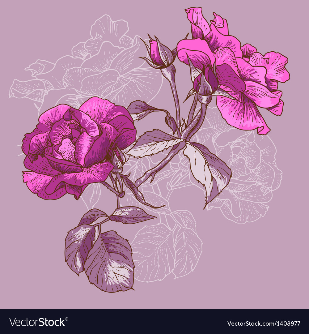 Beautiful seamless rose background vector | Price: 1 Credit (USD $1)