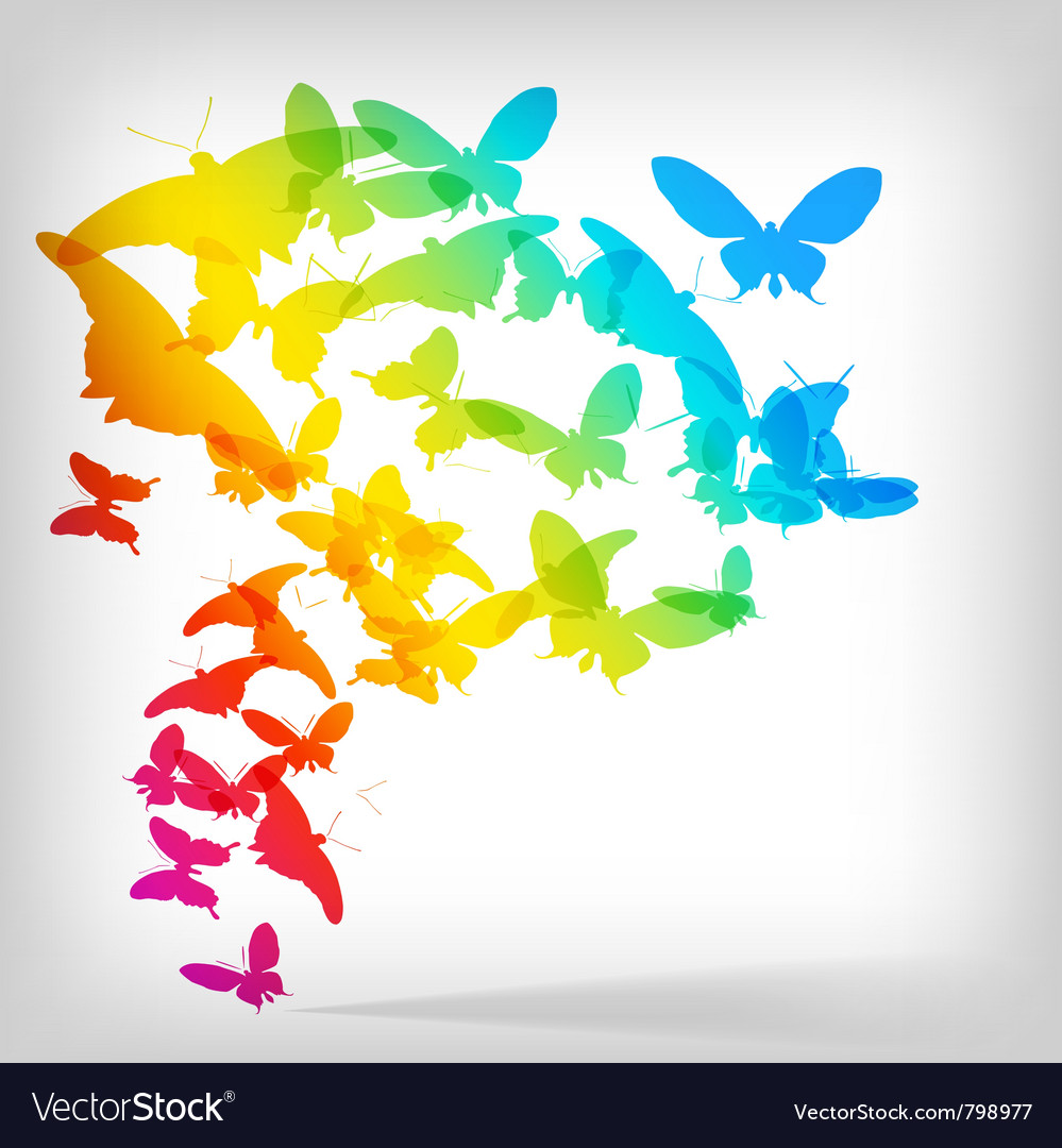 Colorful background with butterflies vector | Price: 1 Credit (USD $1)