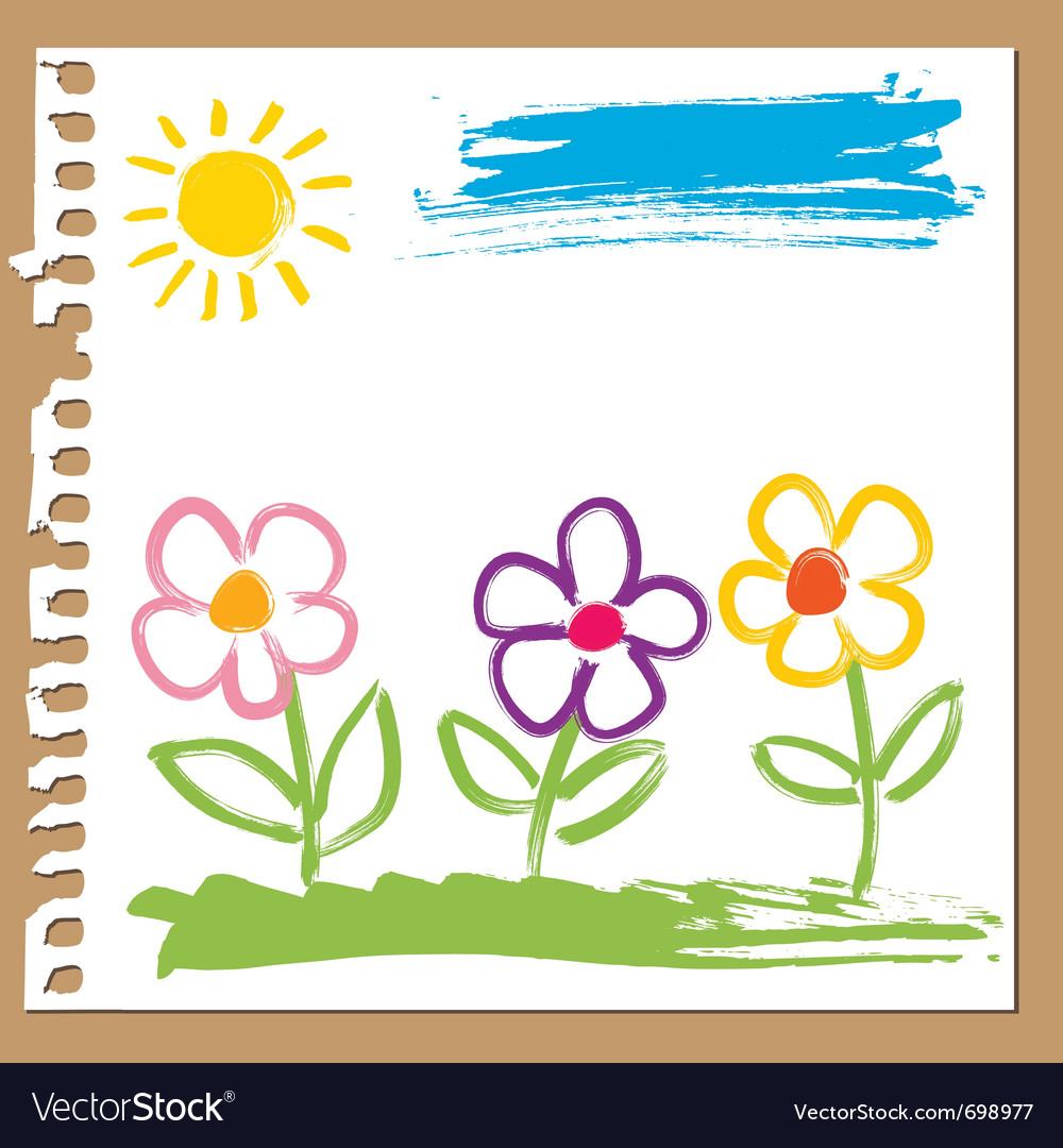 Colorful flowers painted vector | Price: 1 Credit (USD $1)