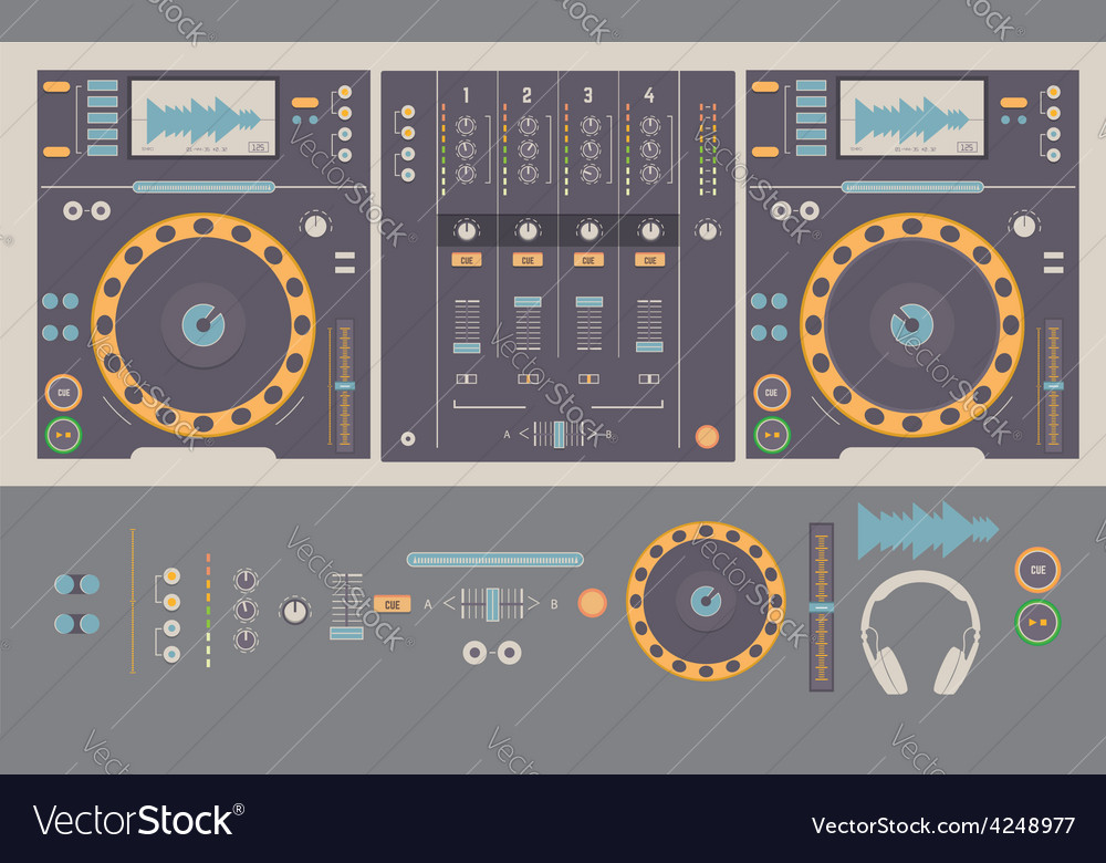 Dj mixing decks and elements vector | Price: 1 Credit (USD $1)