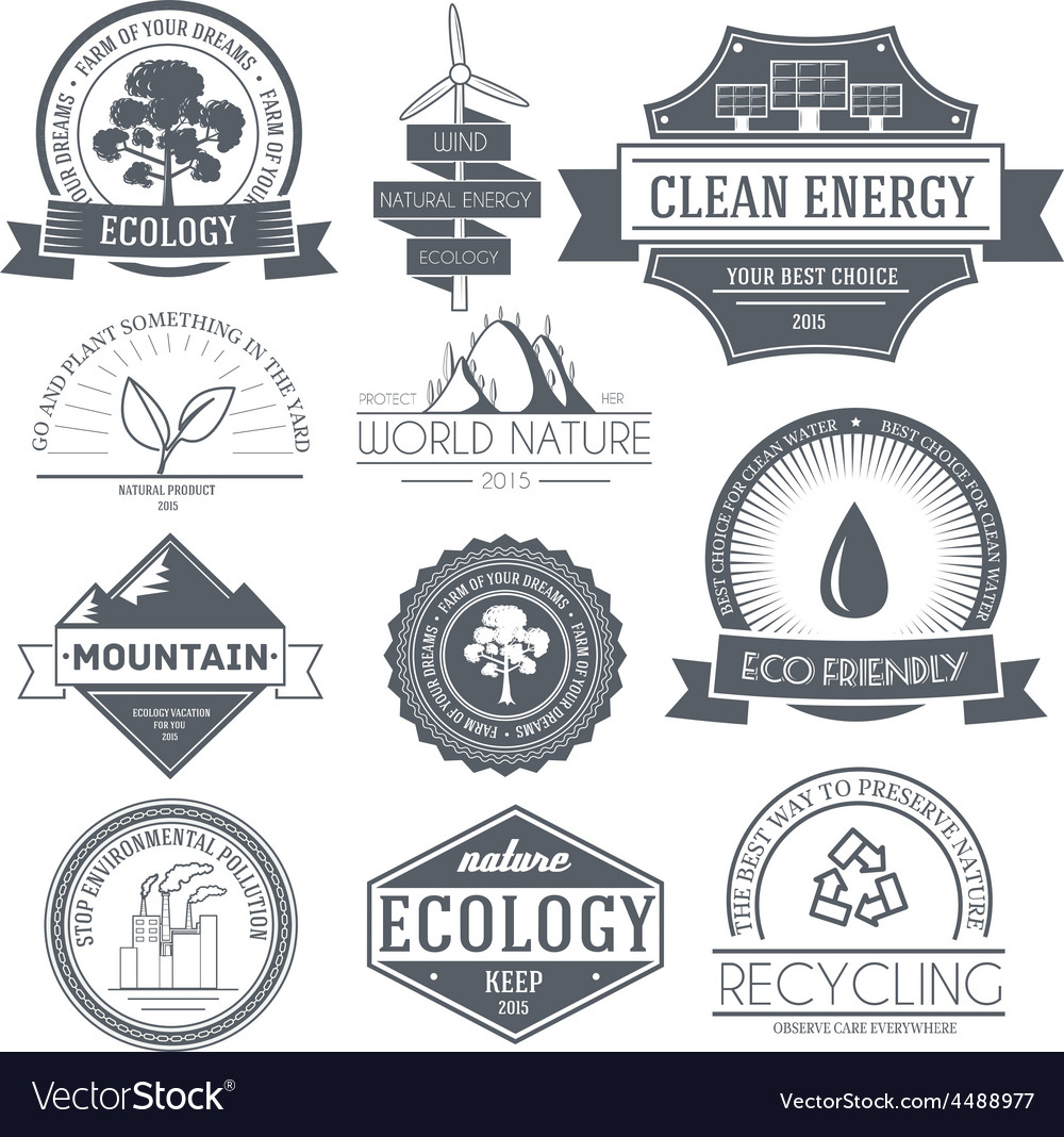 Ecology set label template of emblem element for vector | Price: 1 Credit (USD $1)