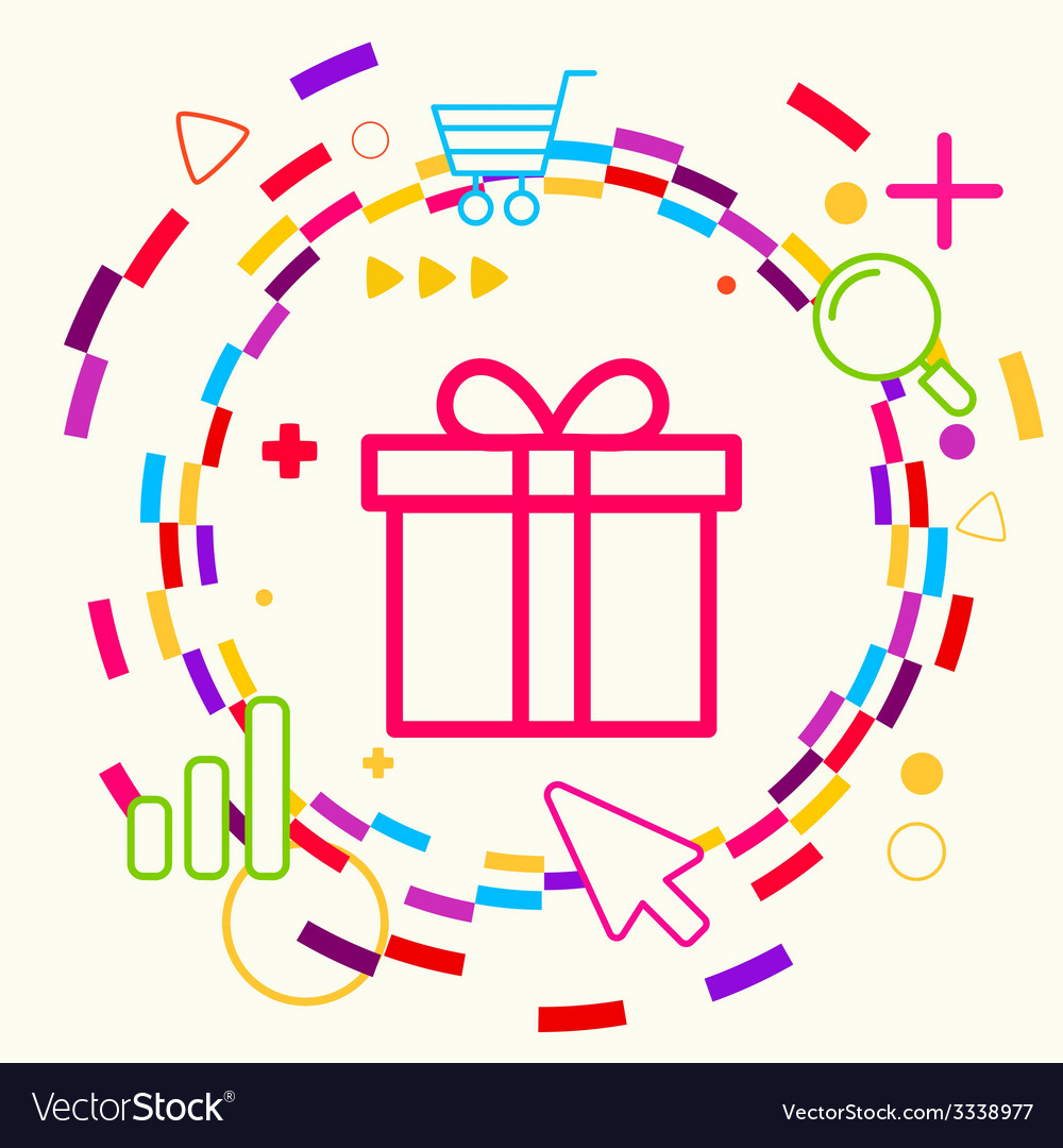 Gift box on abstract colorful geometric light vector | Price: 3 Credit (USD $3)