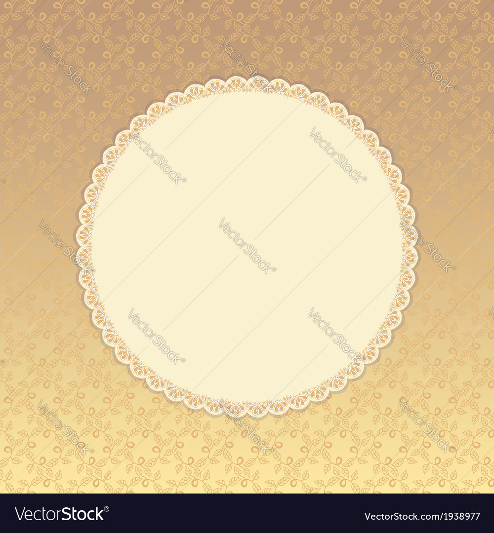 Golden background with beige round label eps 8 vector | Price: 1 Credit (USD $1)