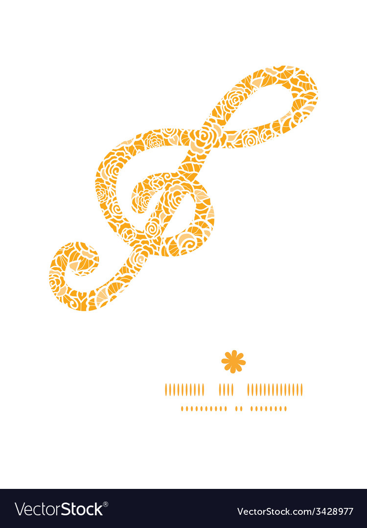 Golden lace roses g clef musical silhouette vector | Price: 1 Credit (USD $1)