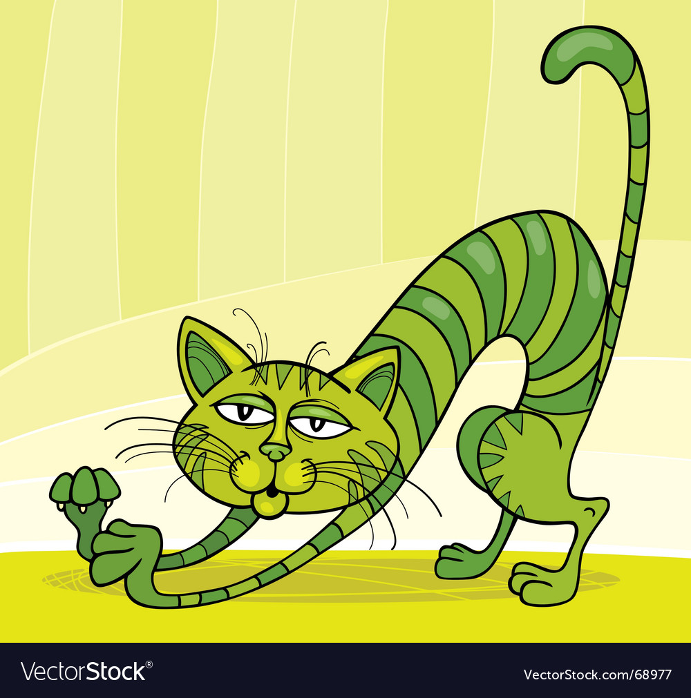Green cat stretching vector | Price: 1 Credit (USD $1)