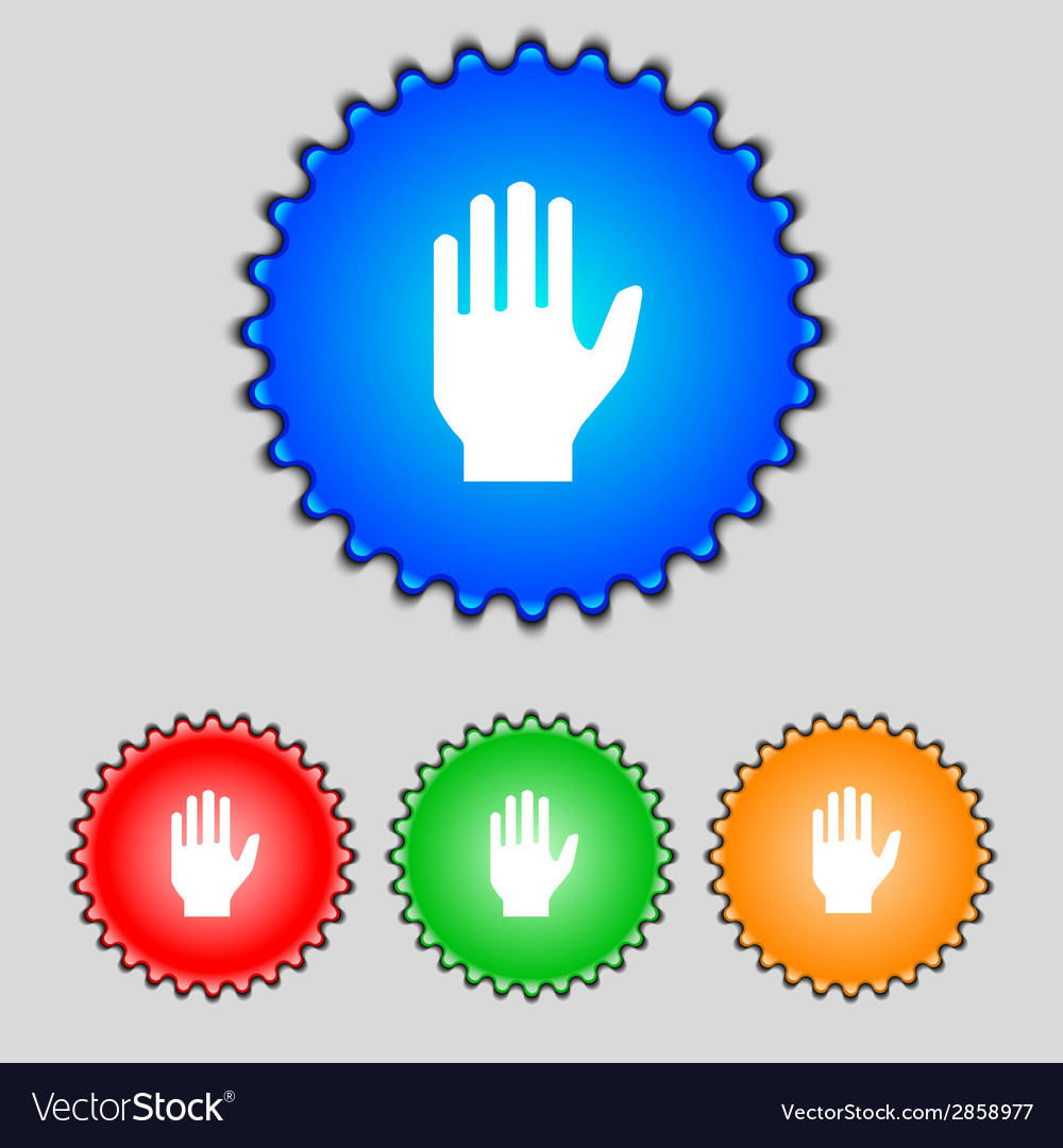 Hand print sign icon stop symbol set colour vector | Price: 1 Credit (USD $1)