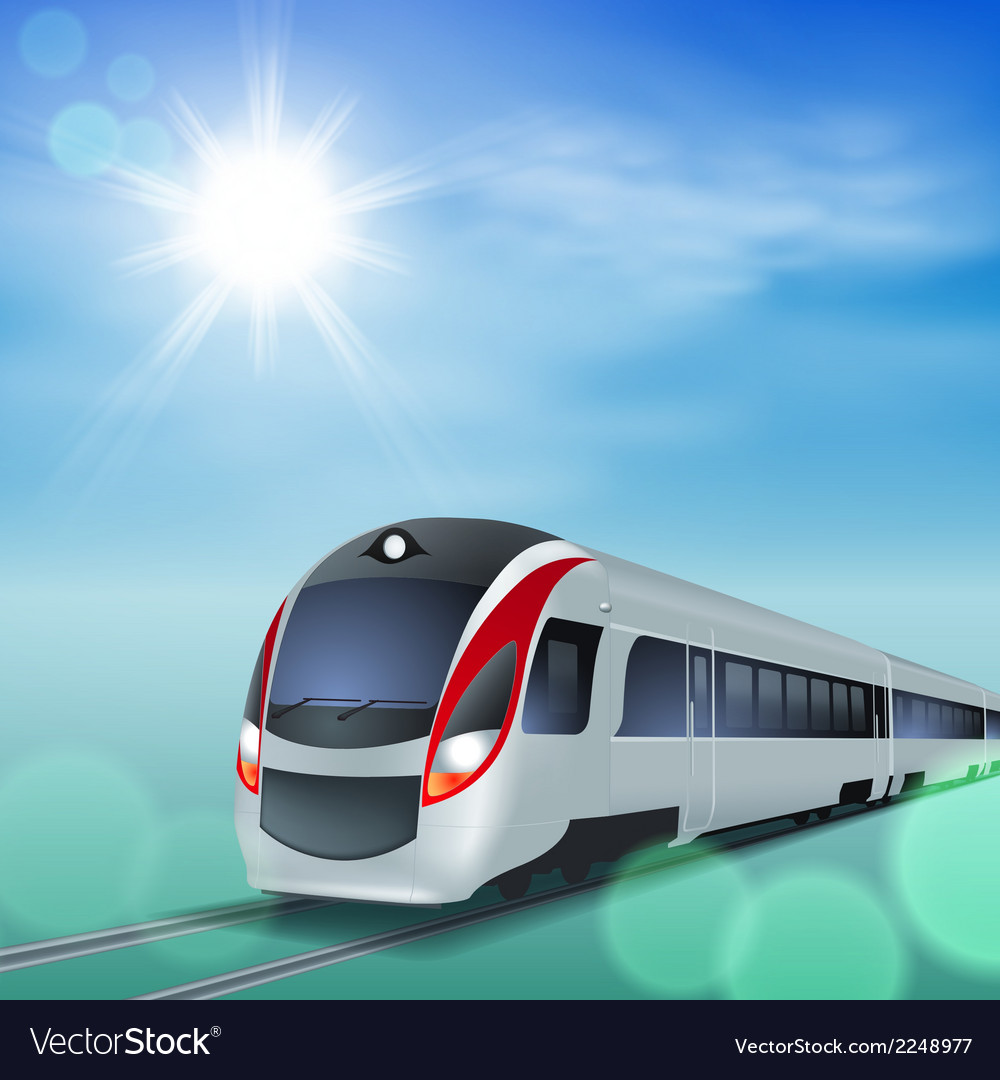High-speed train at sunny day vector | Price: 1 Credit (USD $1)