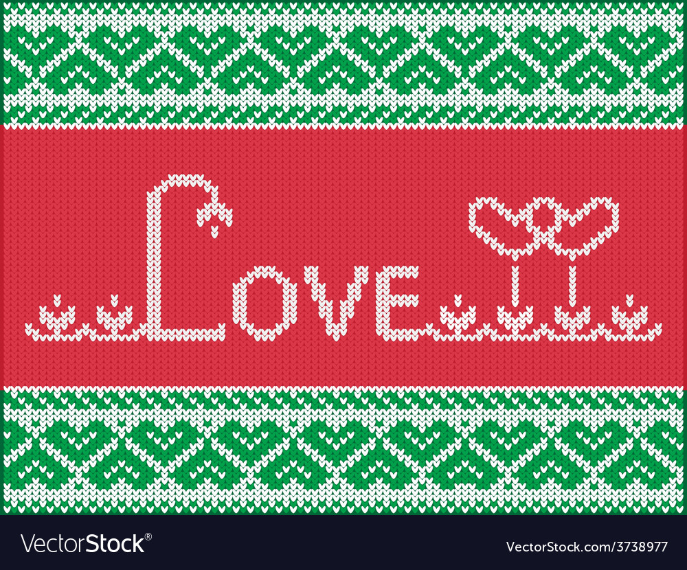 Knitting love card vector | Price: 1 Credit (USD $1)