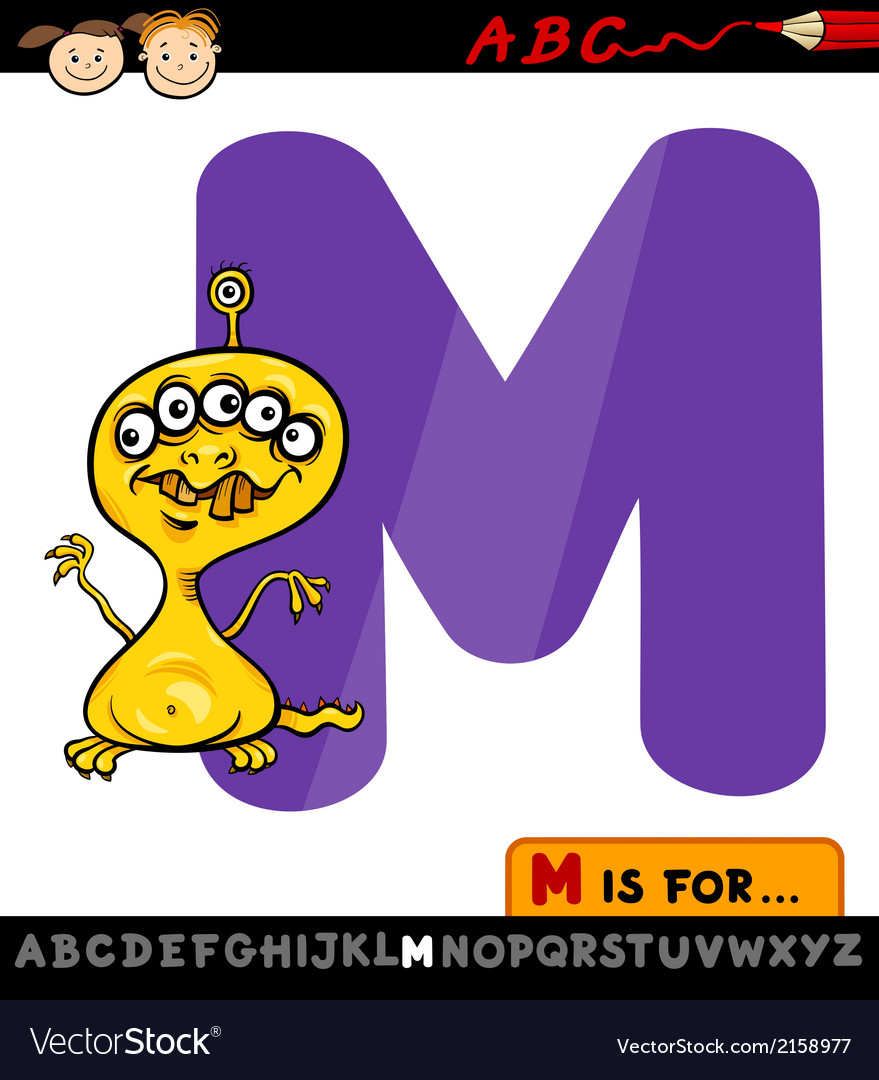 Letter m with monster cartoon vector   Price: 1 Credit (USD $1)