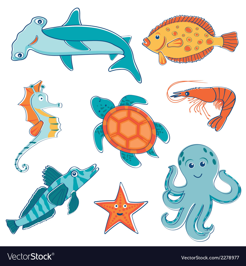 Sea creatures collection vector | Price: 1 Credit (USD $1)