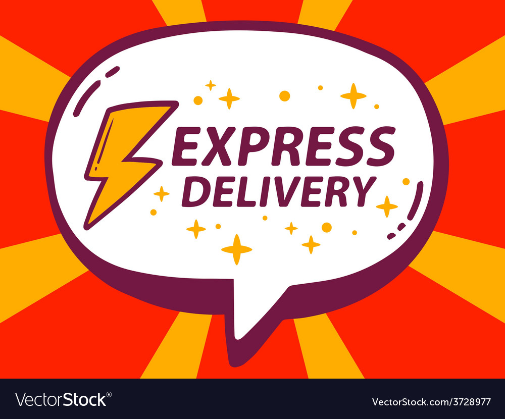 Speech bubble with icon of express delive vector | Price: 1 Credit (USD $1)