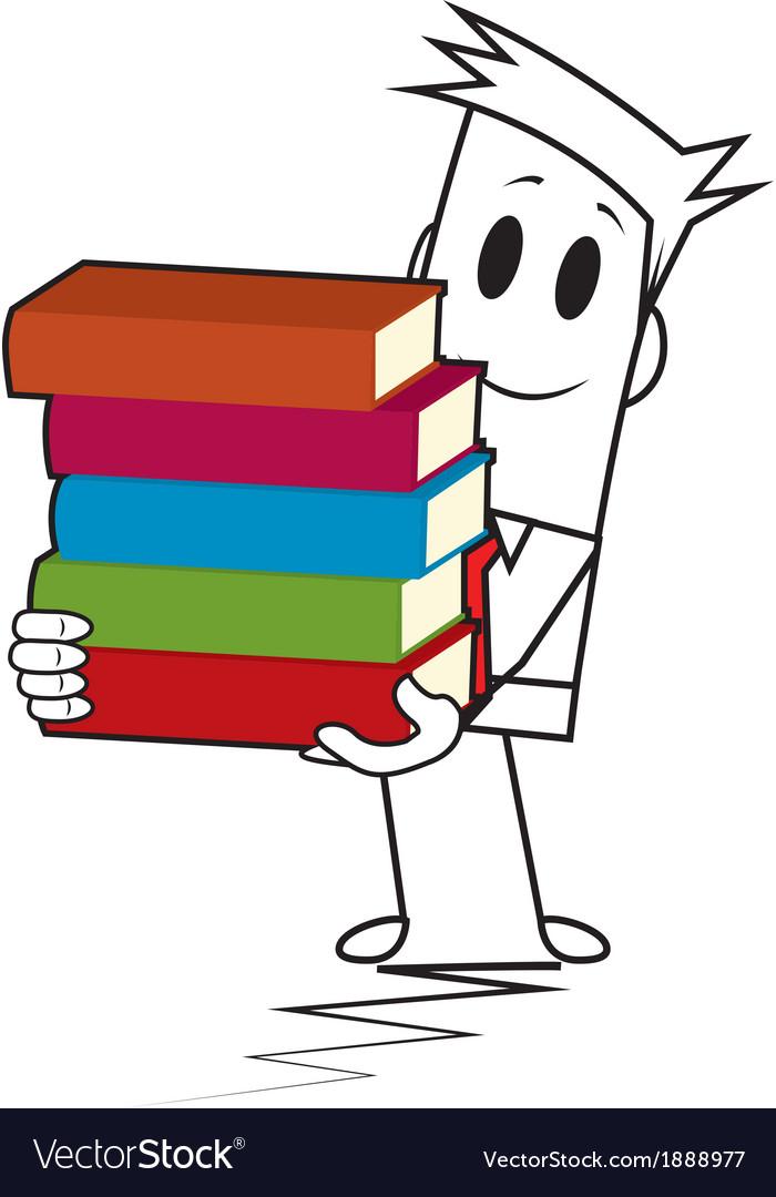 Square guy - book stack vector | Price: 1 Credit (USD $1)