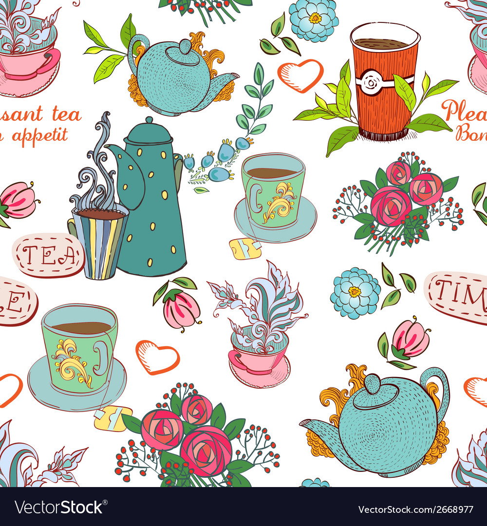Tea seamless vector | Price: 1 Credit (USD $1)