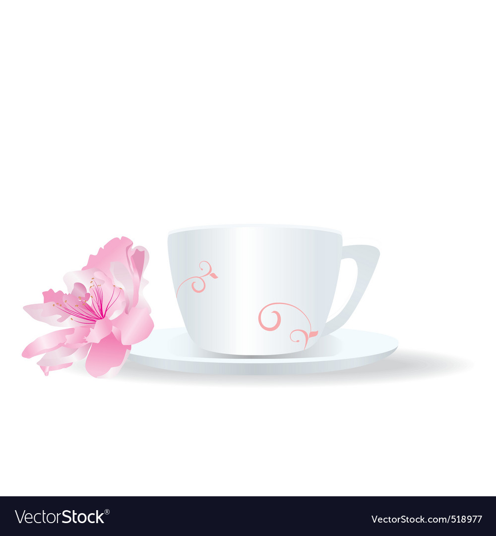 White cup with flower vector | Price: 1 Credit (USD $1)