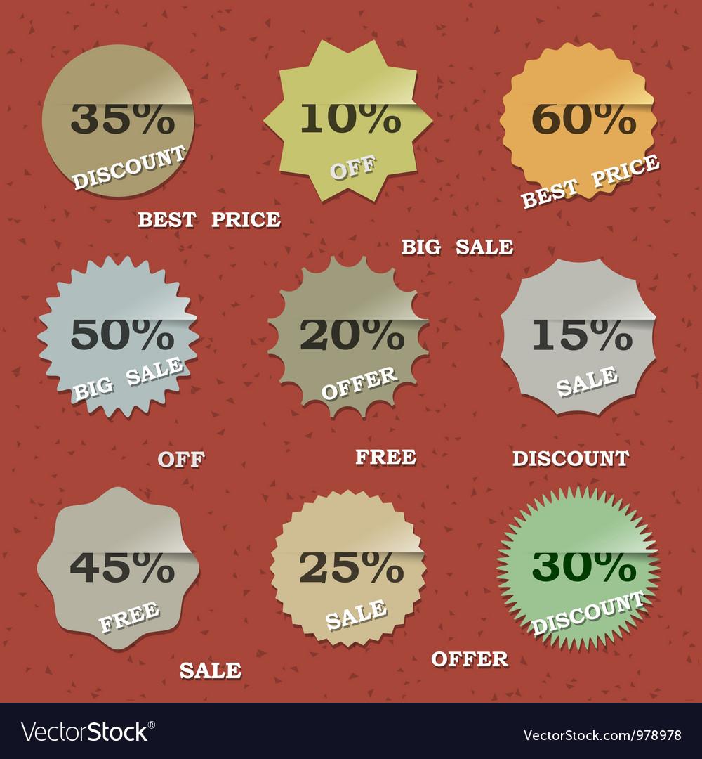 9 vintage sale labels vector   Price: 1 Credit (USD $1)