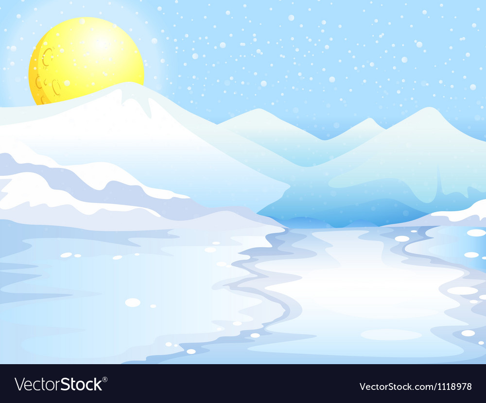 A moon and snow mountains vector | Price: 1 Credit (USD $1)