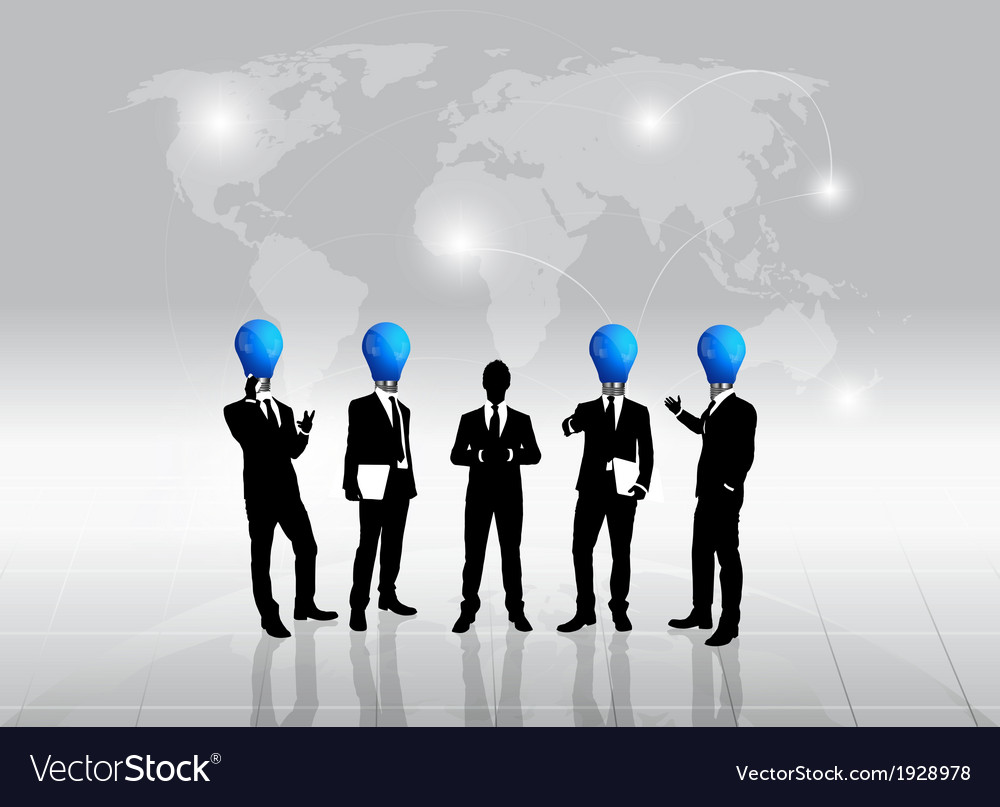 Business people silhouette and bulb head man vector | Price: 1 Credit (USD $1)
