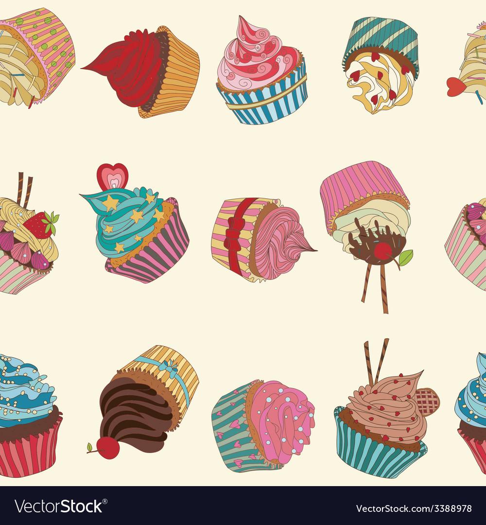 Cupcake pattern vector | Price: 1 Credit (USD $1)