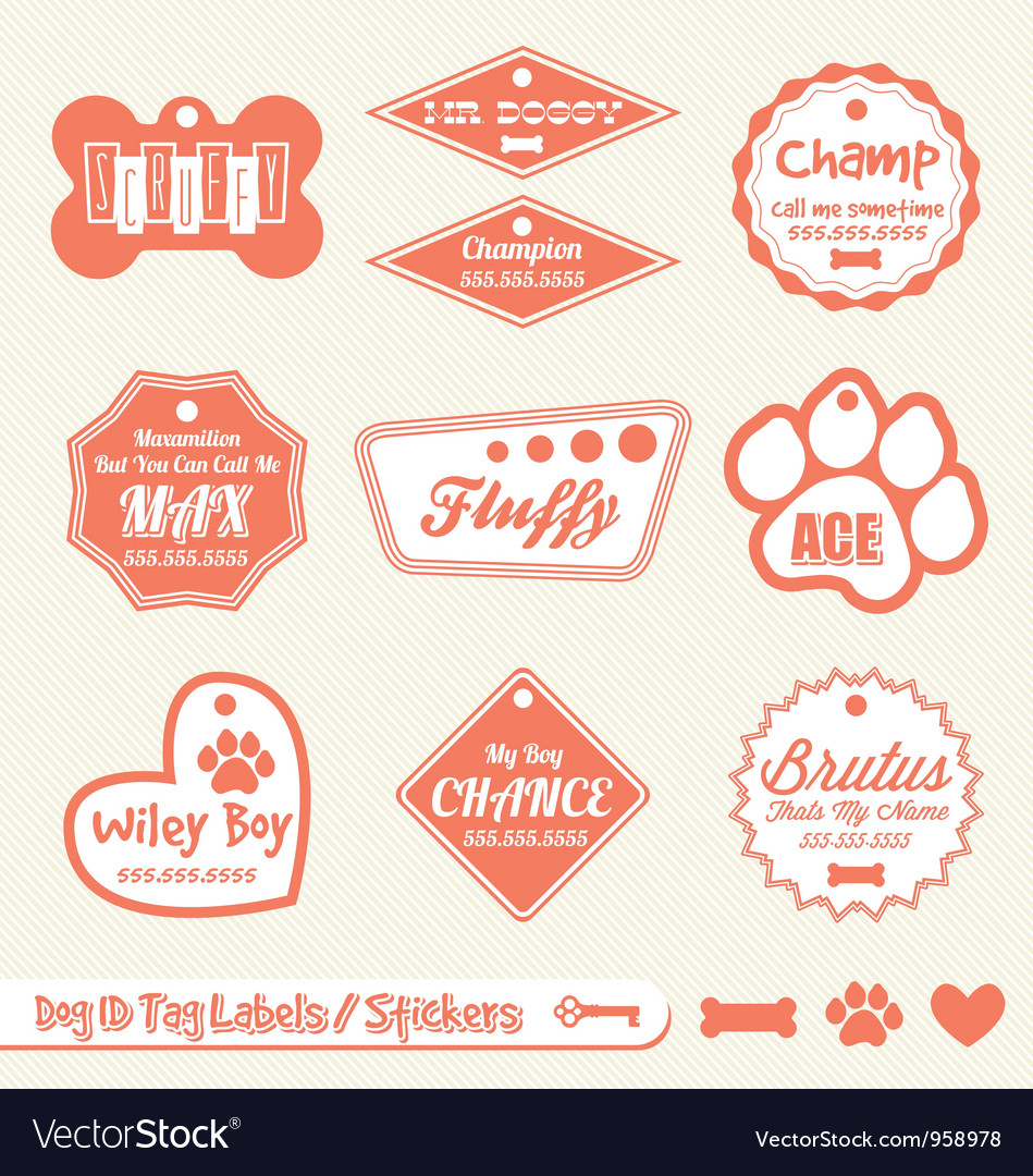 Dog name tag labels vector | Price: 1 Credit (USD $1)