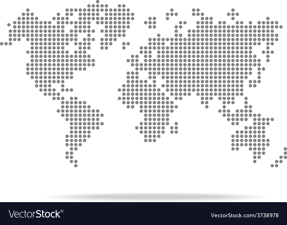 Dot world map isolated on the white background vector | Price: 1 Credit (USD $1)