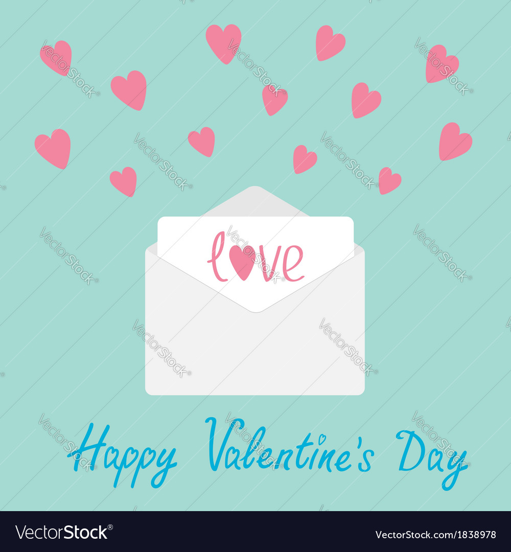 Envelope with hearts happy valentines day card vector | Price: 1 Credit (USD $1)