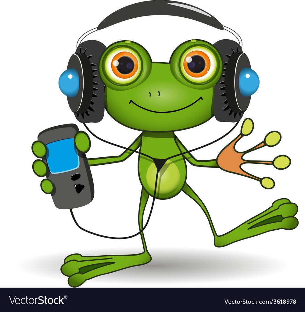 Frog in headphones vector | Price: 3 Credit (USD $3)