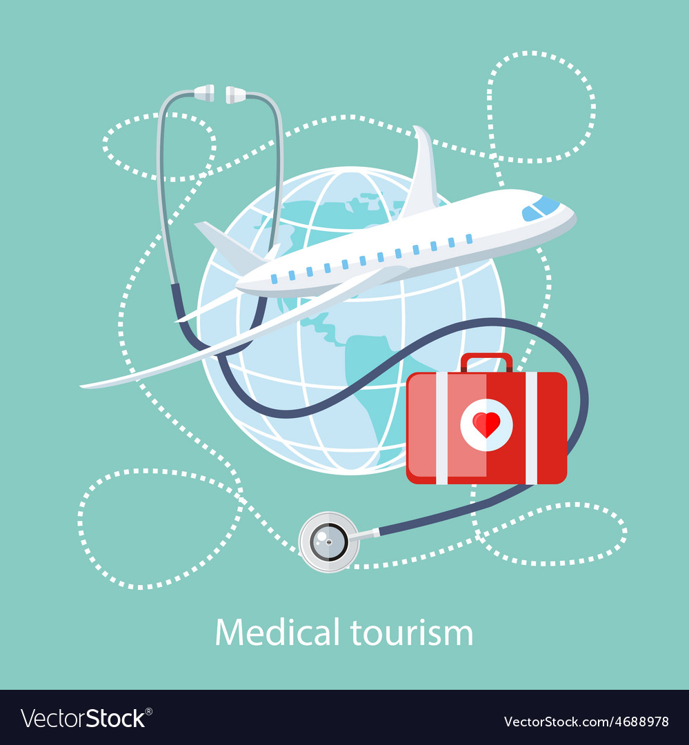 Medical tourism icon of traveling and treatment vector | Price: 1 Credit (USD $1)