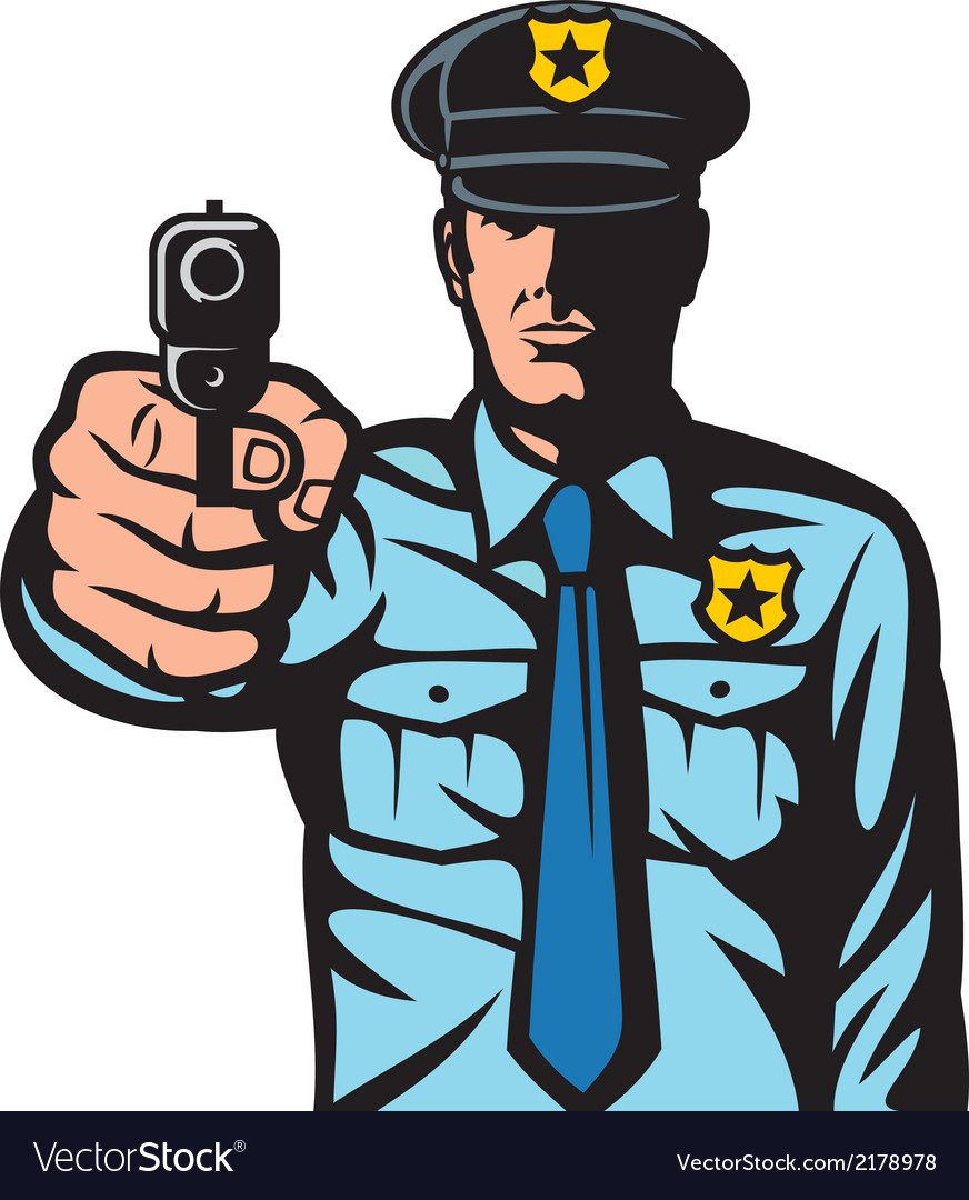 Policeman pointing a gun vector | Price: 1 Credit (USD $1)