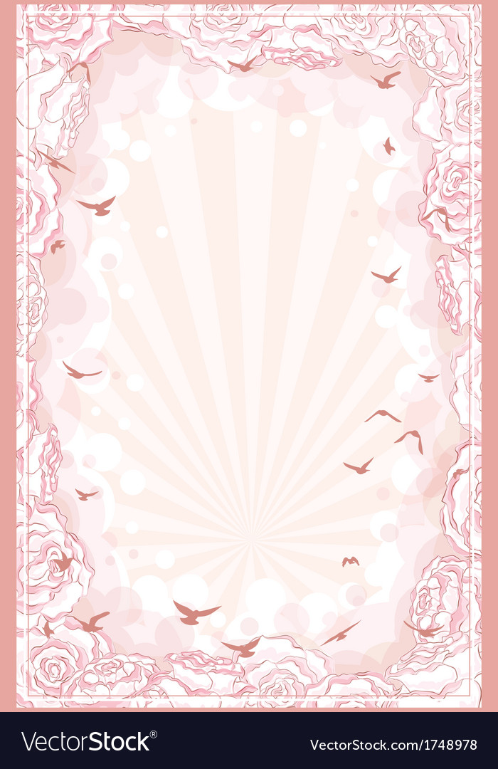 Romantic background with hand drawn roses frame vector | Price: 1 Credit (USD $1)