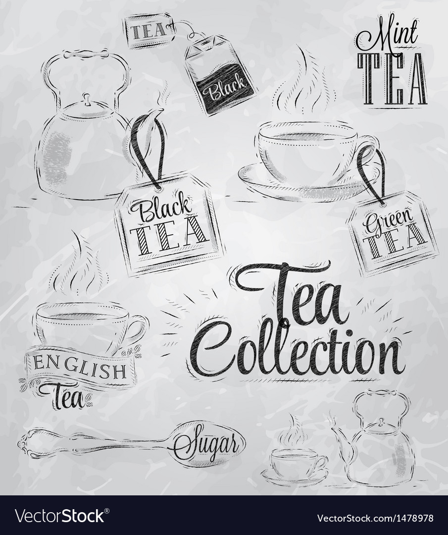 Set tea collection coal vector | Price: 1 Credit (USD $1)