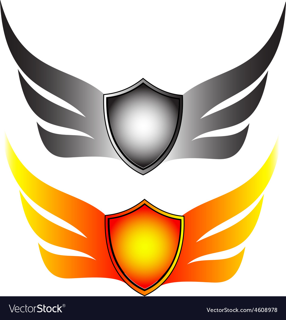 Shield with wings vector | Price: 1 Credit (USD $1)