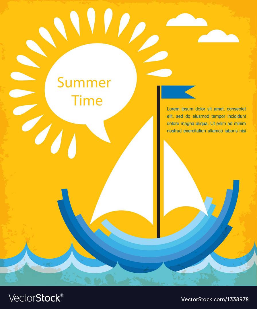 Summer time blue boat at blue sea vector | Price: 1 Credit (USD $1)