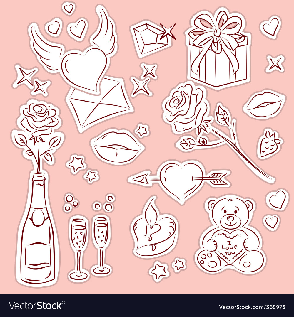 Valentine design elements 1 vector | Price: 1 Credit (USD $1)