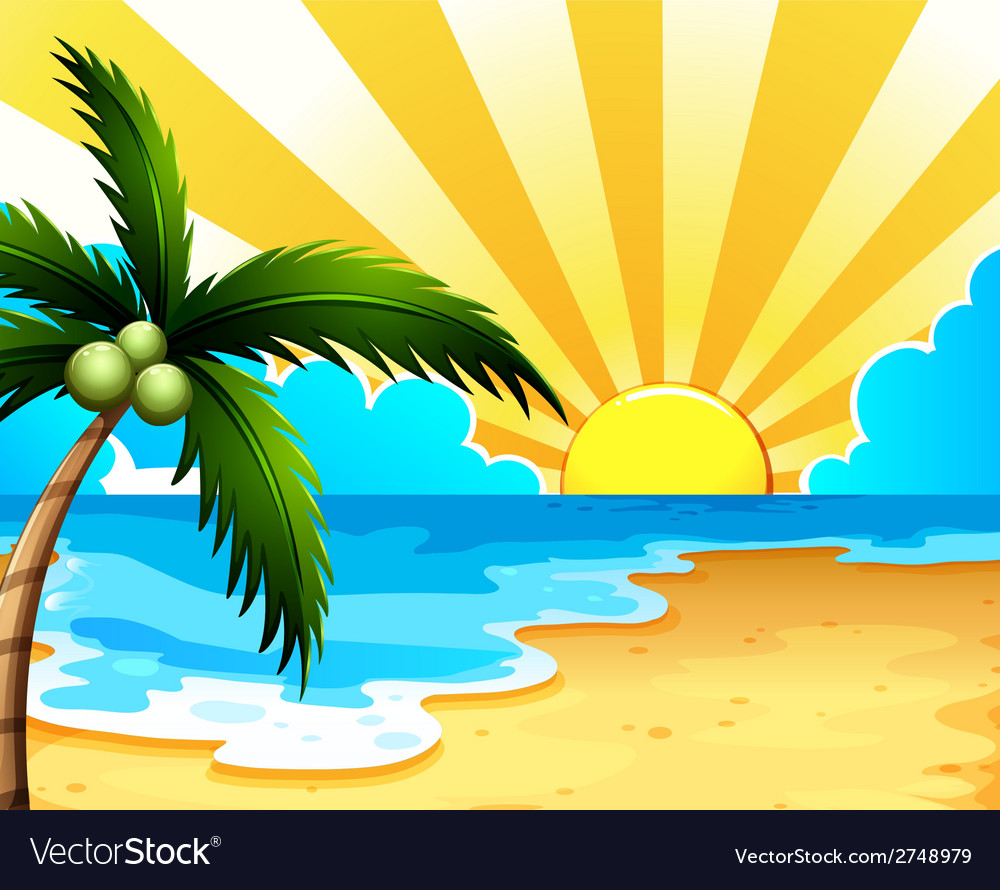 A beautiful beach with a coconut tree vector | Price: 1 Credit (USD $1)