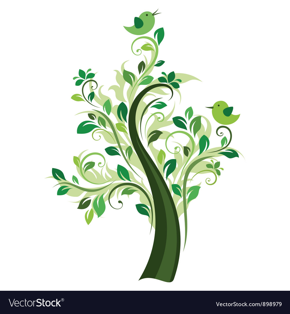 Birds on the tree vector | Price: 1 Credit (USD $1)