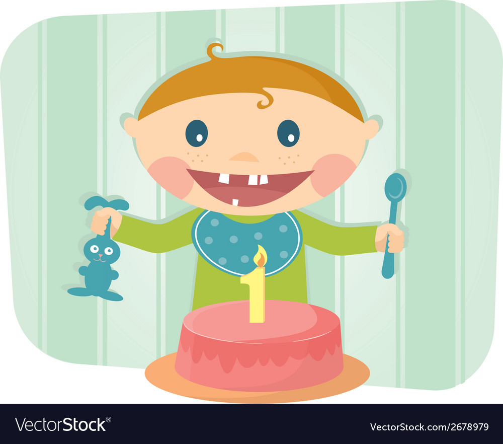 Cute baby celebrating birthday vector | Price: 1 Credit (USD $1)