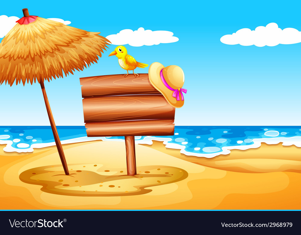 Empty signboards at the beach vector | Price: 1 Credit (USD $1)