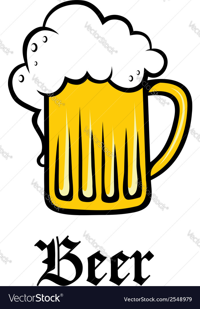 Glass pint tankard of golden frothy beer vector | Price: 1 Credit (USD $1)
